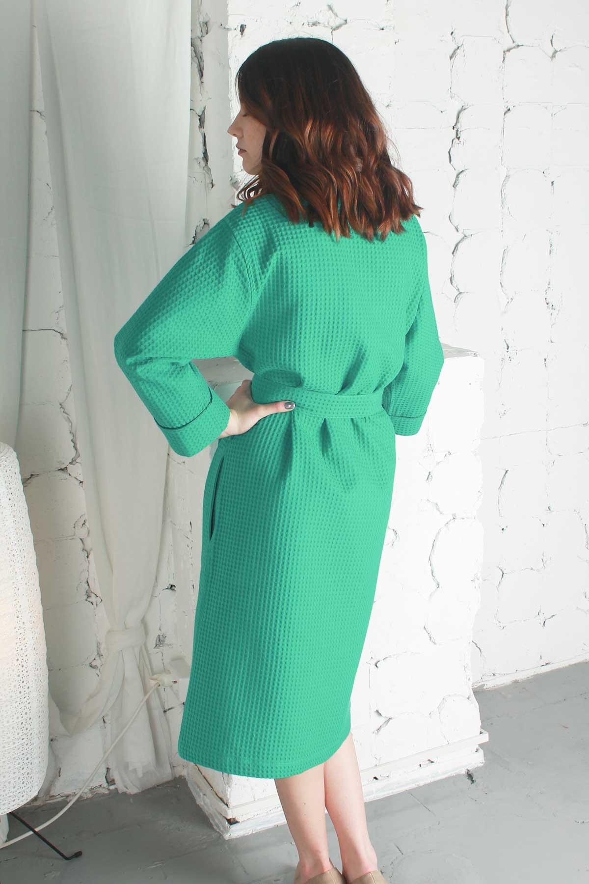 Купить халат вафельный зелёный от компании Cotton Dreams