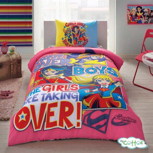 Детский комплект постельного TAC (Тач) SUPER HERO GIRLS