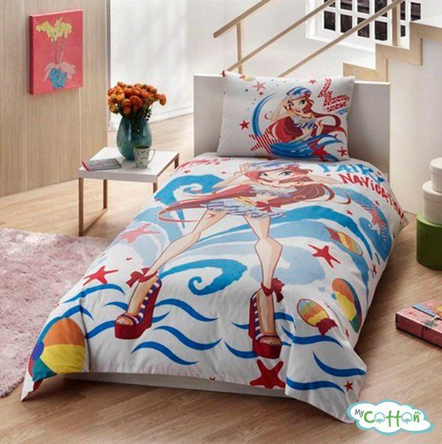 Детский комплект постельного белья для девочек TAC (Тач)WINX BLOOM OCEAN