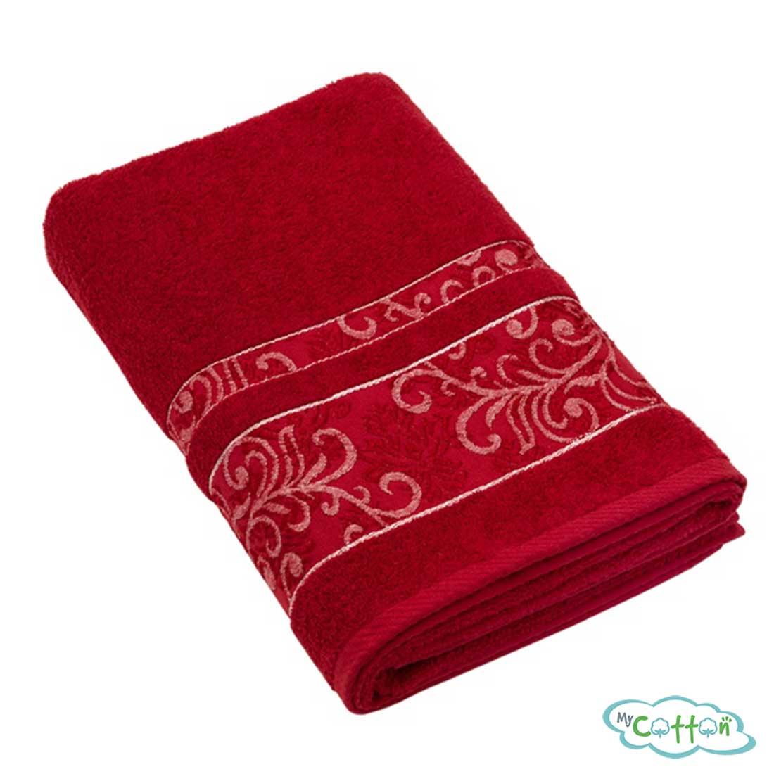 Полотенце махровое BRIELLEцвет красный с вышивкой