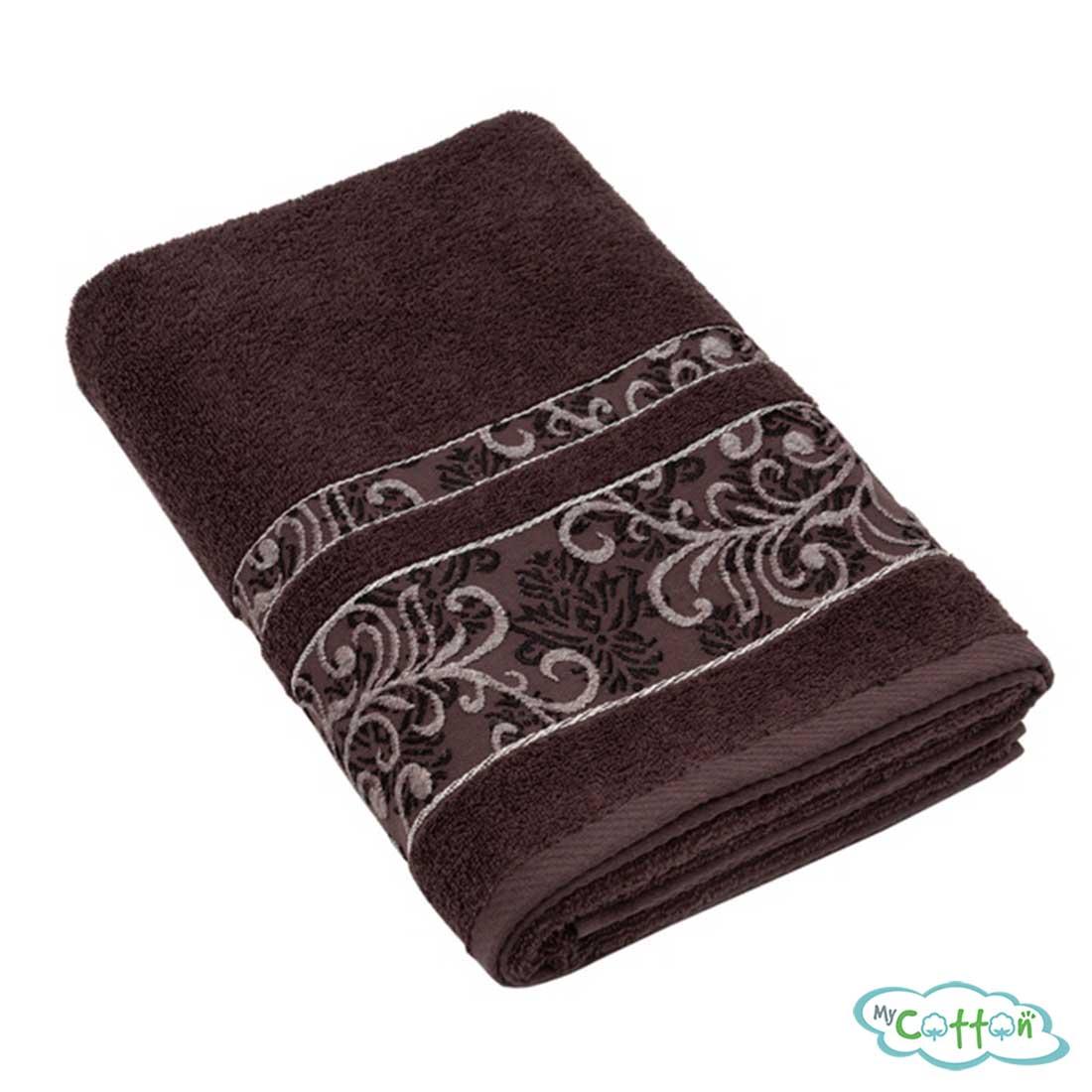Полотенце махровое BRIELLEцвет темно-коричневый с вышивкой