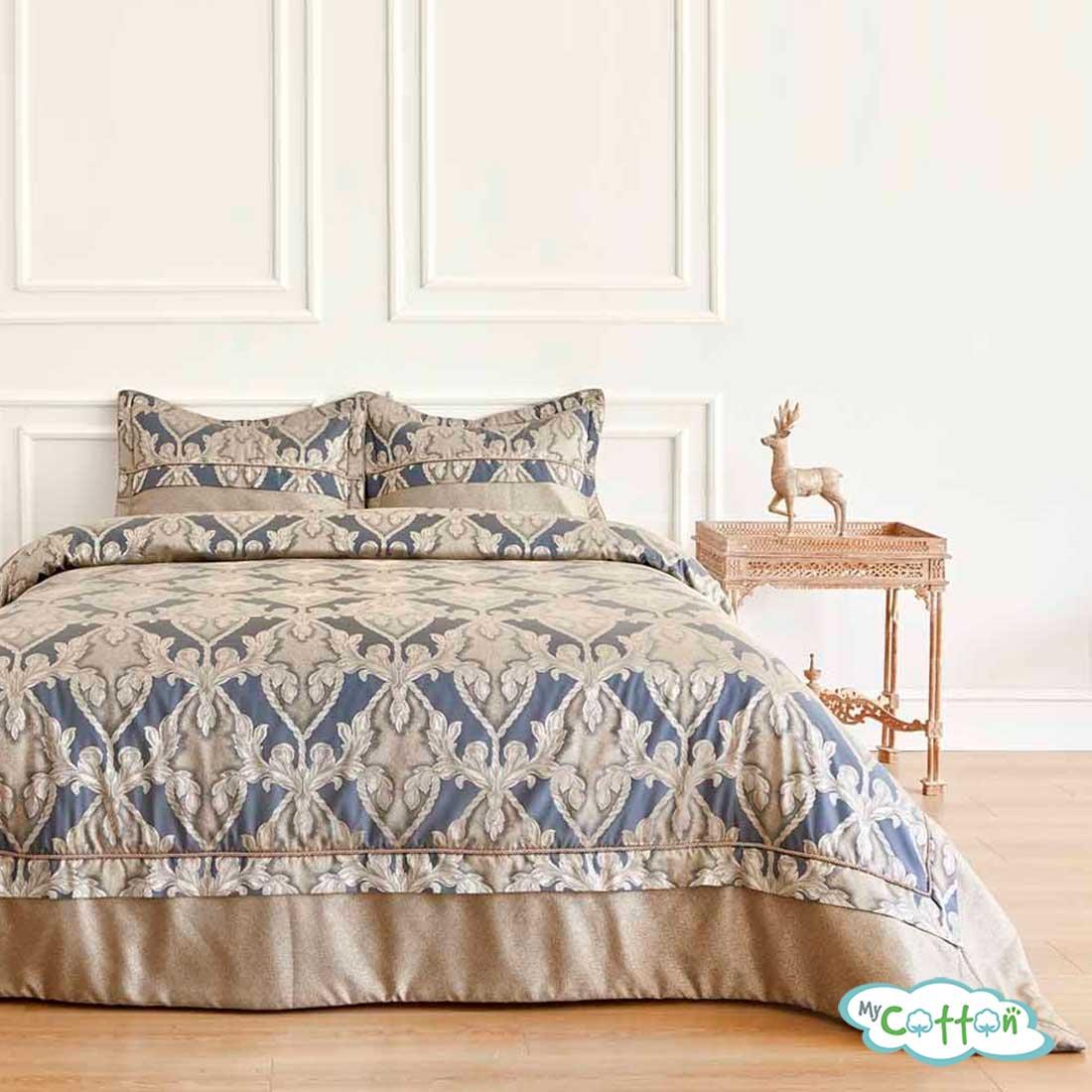 """Покрывало синее в наборе""""AMARA"""" от Soft Cotton"""