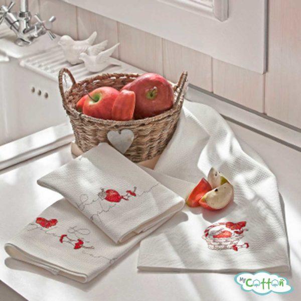 """Набор из 3-х вафельных полотенец Tivolyo Home """"JAMS"""", цвет ассорти"""