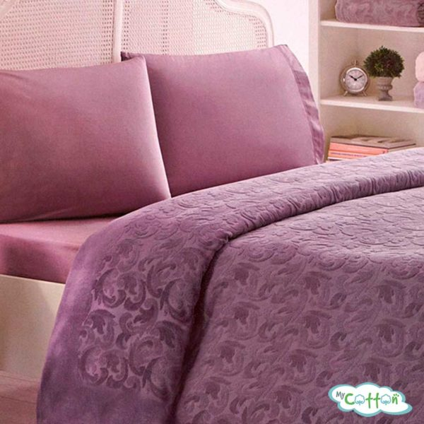 """Покрывало в наборе фиолетовое """"Baroc"""" от Tivolyo Home"""