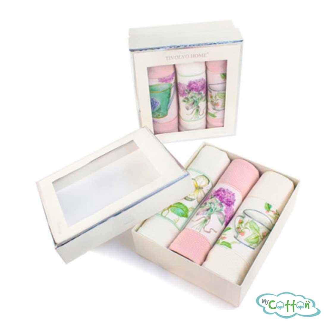 """Набор из 3-х вафельных полотенец Tivolyo Home """"BERGAMO"""", цвет розовый"""
