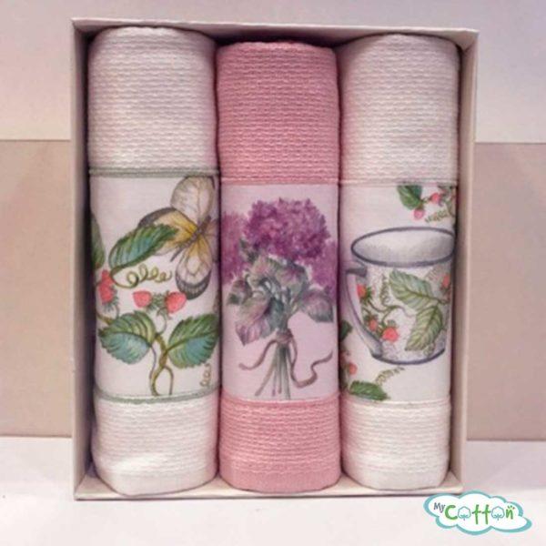 """Набор из 3-х вафельных полотенец Tivolyo Home """"BERGAMO"""", цвет бежевый"""