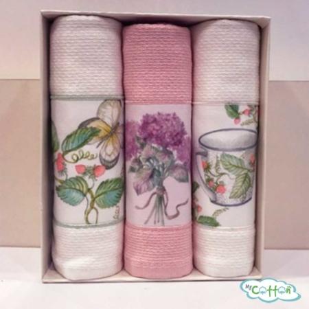 """Набор из 3-х вафельных полотенец Tivolyo Home """"BERGAMO"""", цвет ассорти"""