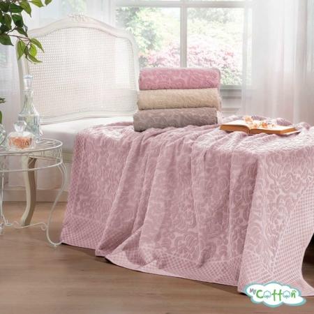 """Покрывало махровое хлопковое """"ELIPS"""" от Tivolyo Home розовое"""