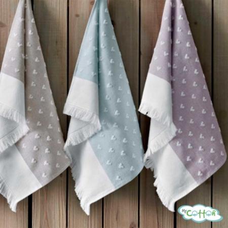 """Кухонное махровое полотенце Tivolyo Home """"HEARTS"""", цвет сиреневый"""