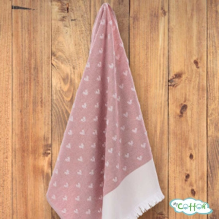"Кухонное полотенце жаккард Tivolyo Home ""HEARTS"", цвет розовый"