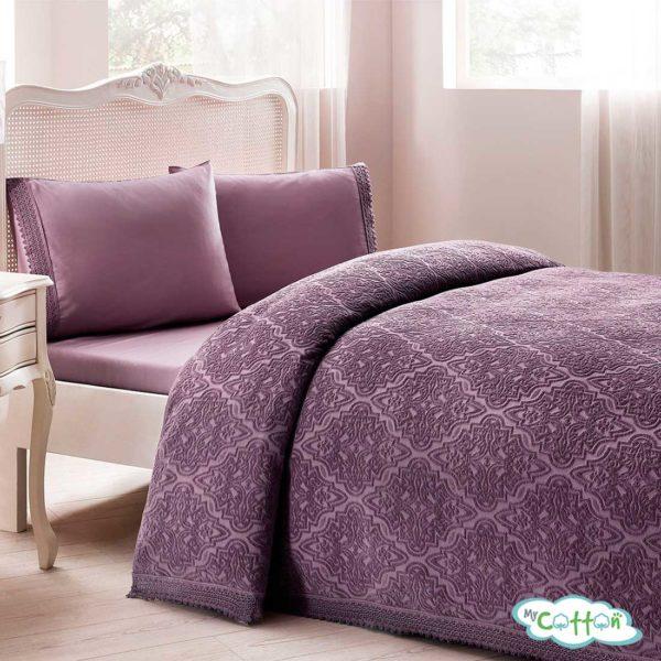 """Покрывало фиолетовое в наборе""""La Perla"""" от Tivolyo Home"""