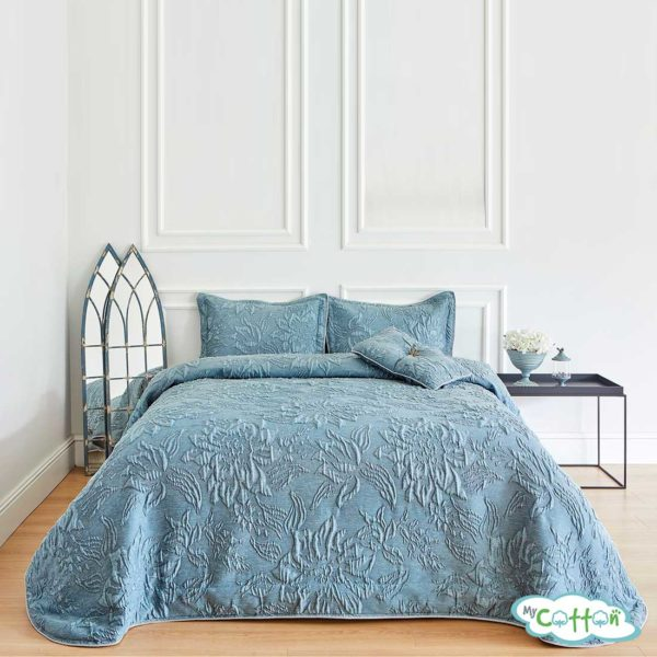 """Покрывало синее в наборе""""Larina"""" от Soft Cotton"""