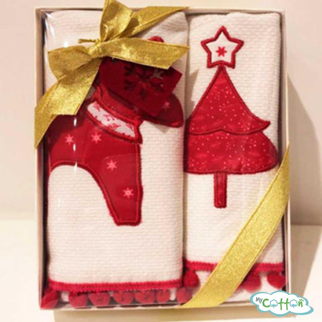 """Набор из 2-х вафельных новогодних полотенец Tivolyo Home """"RED DEER"""", цвет красный и белый"""