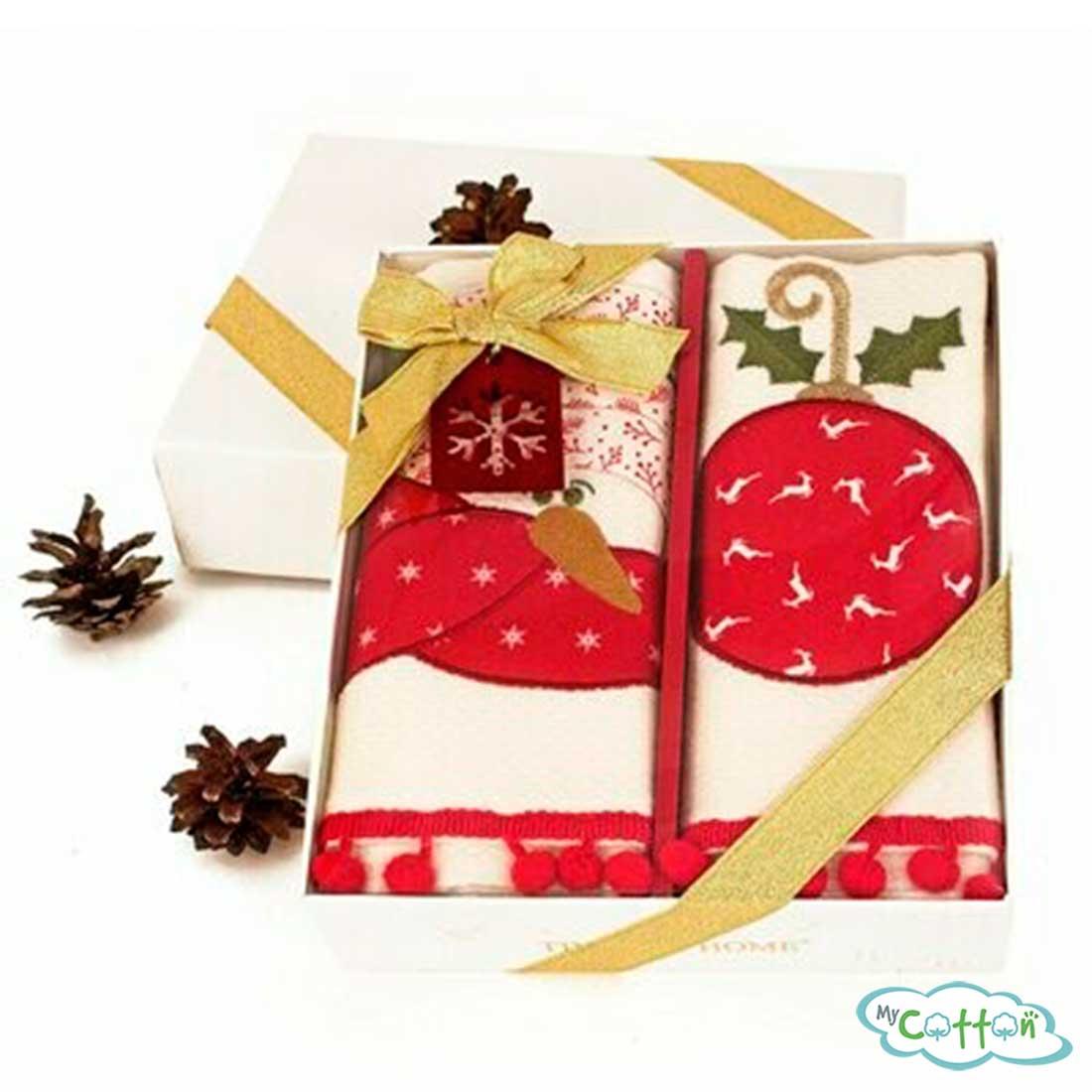 """Набор из 2-х вафельных новогодних полотенец Tivolyo Home """"RED PINE"""", цвет красный и белый"""