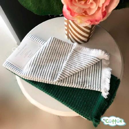 """Набор из 2-х хлопковых полотенец Tivolyo Home """"RETRO"""", цвет зелёный"""