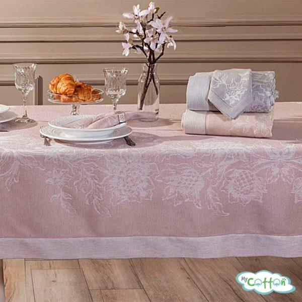 """Скатерть Tivolyo Home """"DAHLIA"""", цвет розовый с салфетками"""