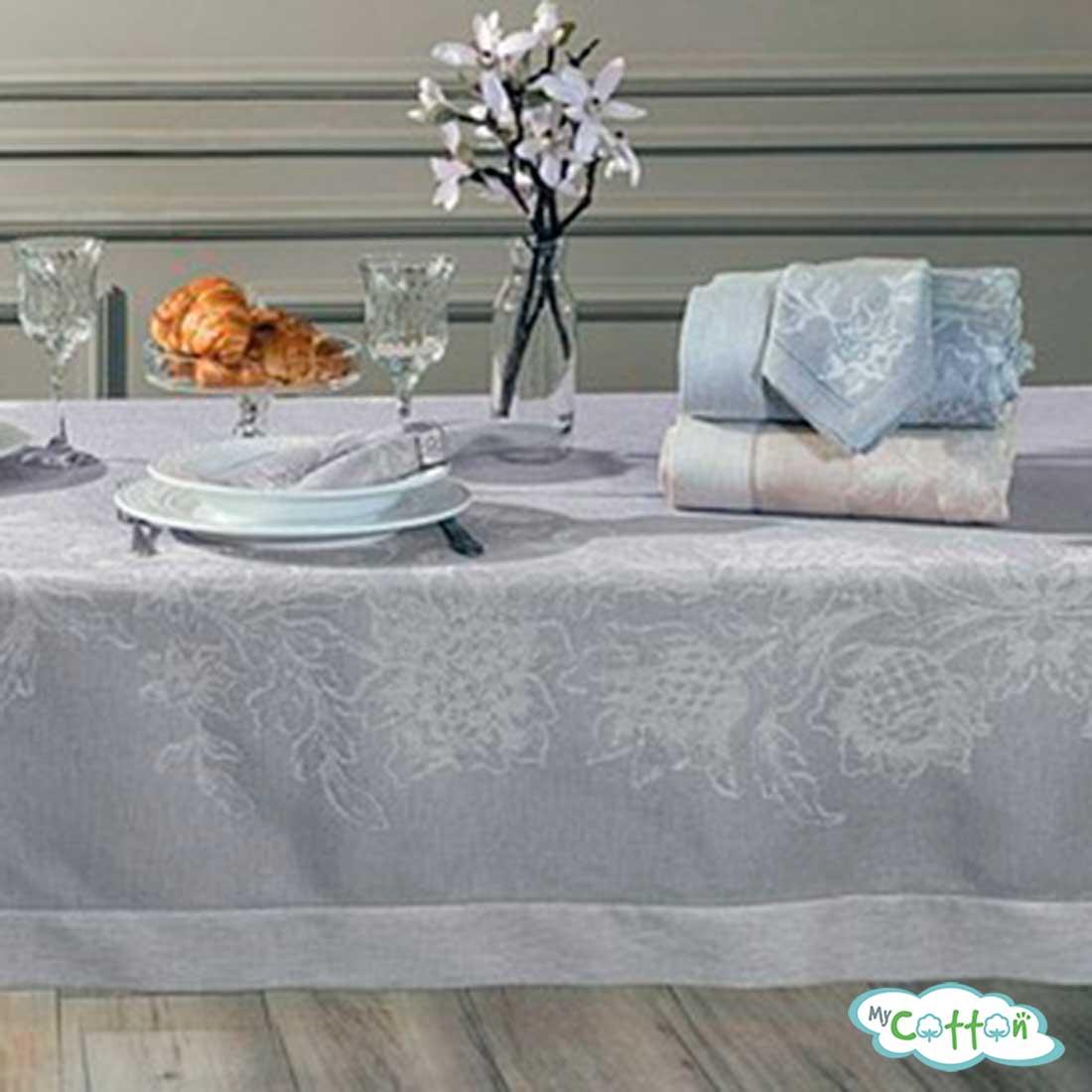 """Скатерть Tivolyo Home """"DAHLIA"""", цвет серый с салфетками"""