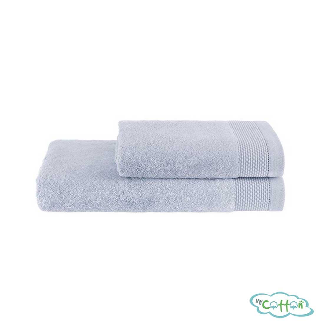 Полотенце махровое Soft Cotton голубое BAMBU