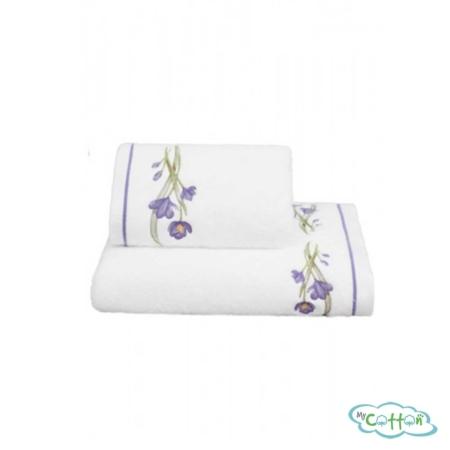 Полотенце махровое Soft Cotton белое BLOSSOM с лиловыми цветами-