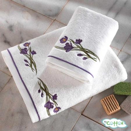 Полотенце махровое Soft Cotton белое BLOSSOM с лиловыми цветами