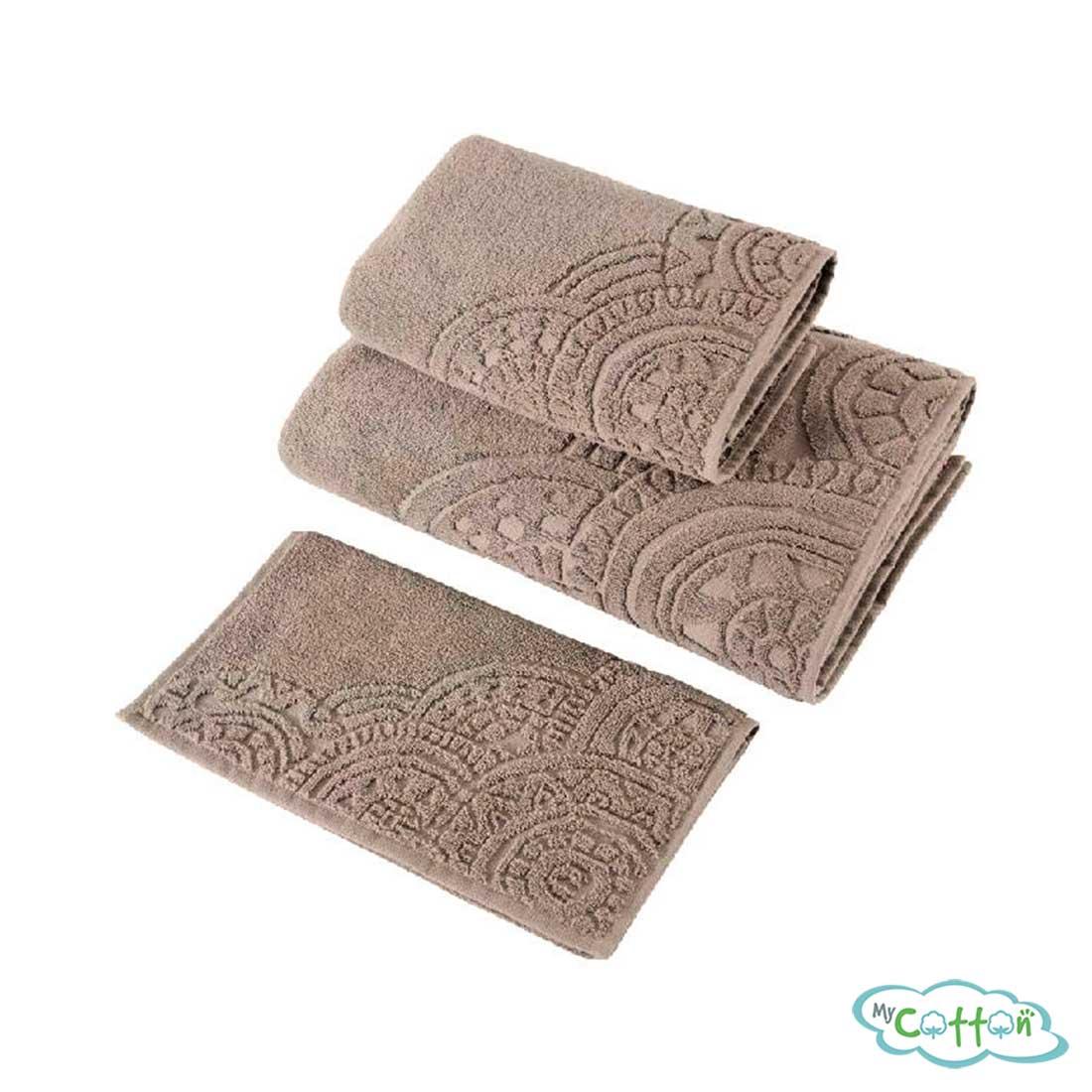 Полотенце махровое Soft Cotton коричневое CIRCLE