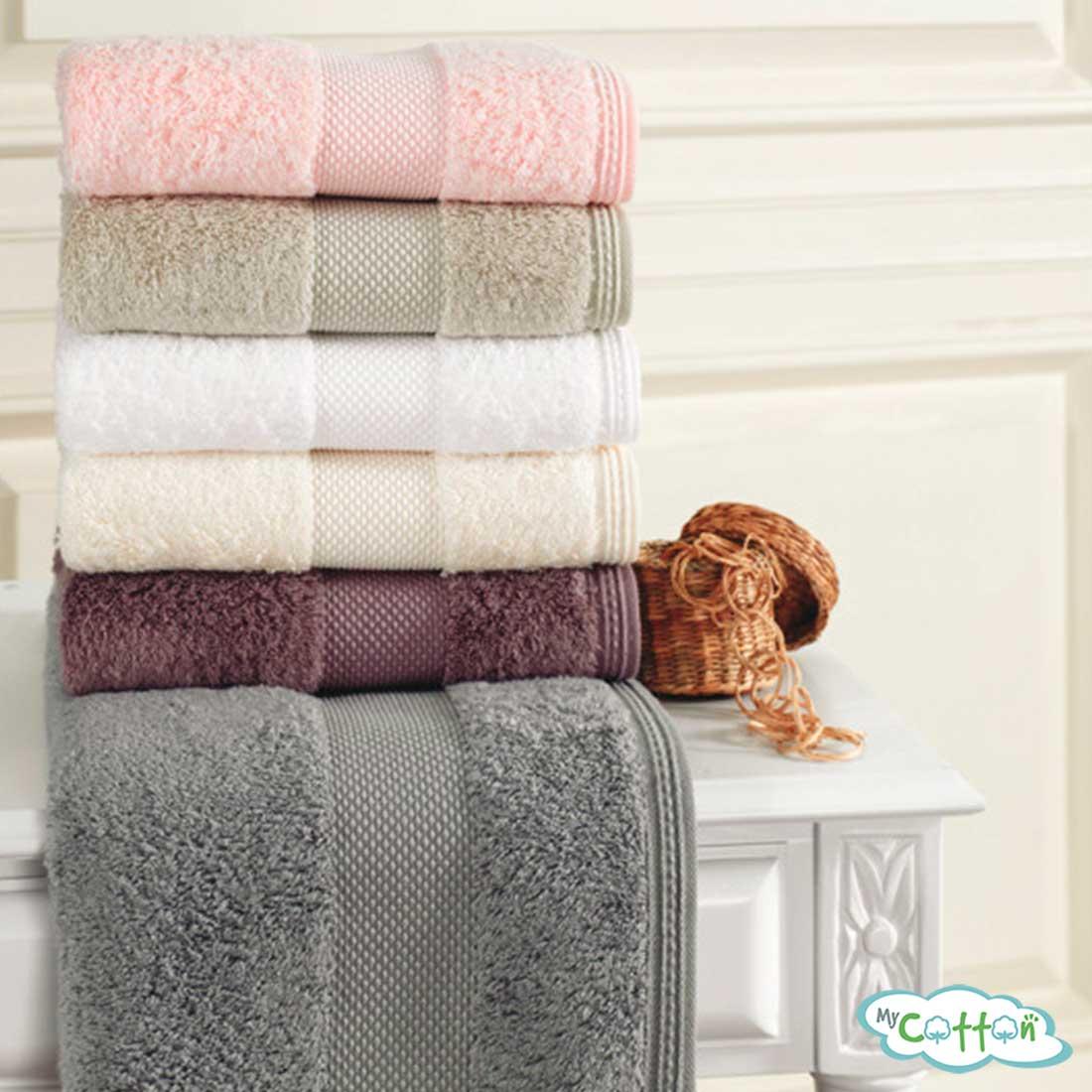 Полотенце махровое Soft Cotton темно-розовоеDeluxe