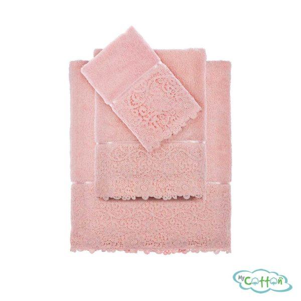 Набор из трёх полотенец махровых Tivolyo Home розовый FORZA-