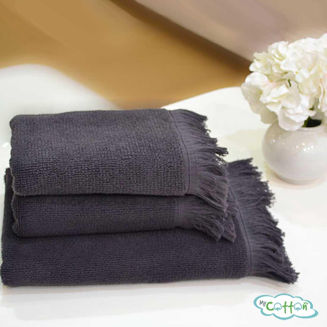 Полотенце махровое Soft Cotton антрацитовое FRINGE-