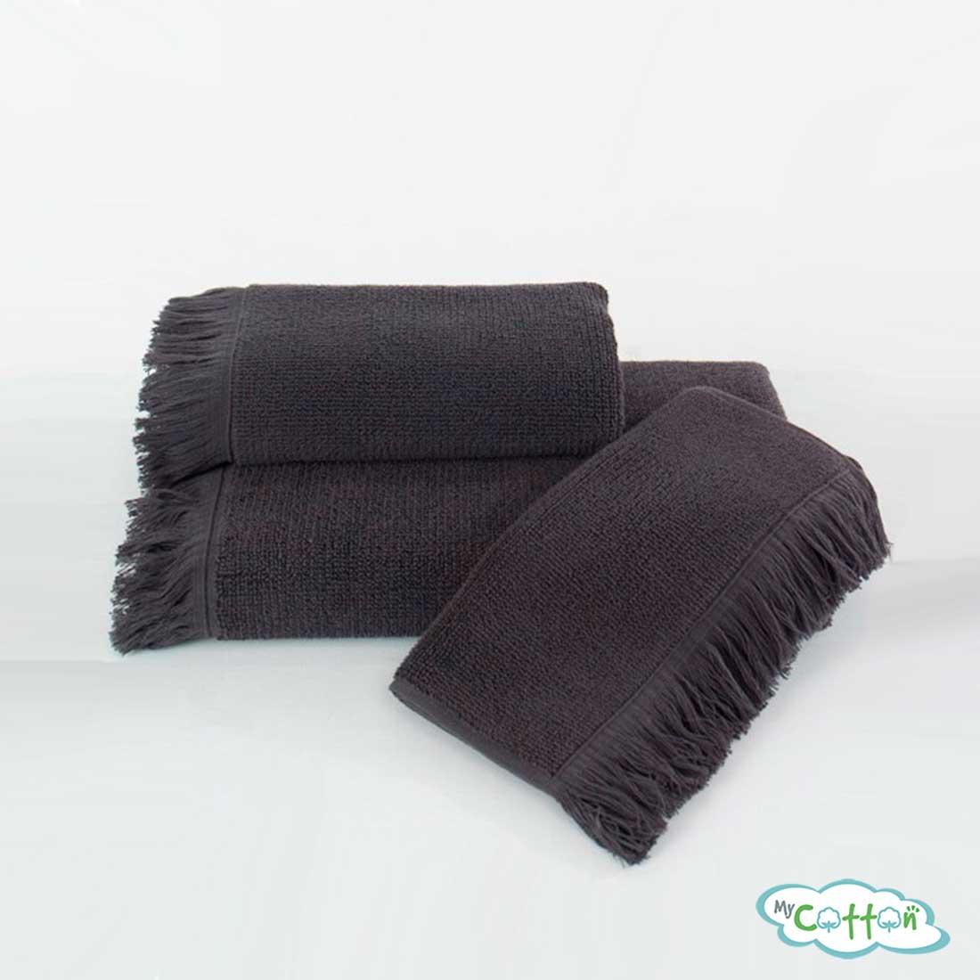Полотенце махровое Soft Cotton антрацитовое FRINGE