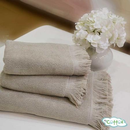 Полотенце махровое Soft Cotton бежевое FRINGE-