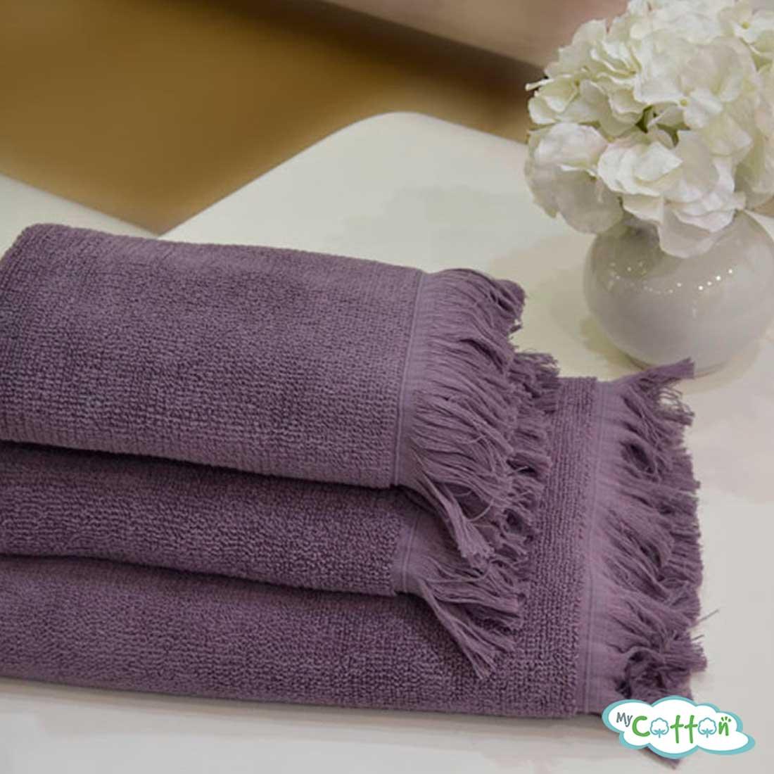 Полотенце махровое Soft Cotton фиолетовое FRINGE+