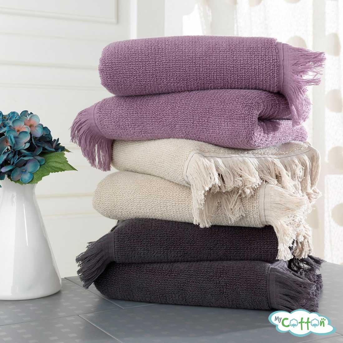Полотенце махровое Soft Cotton фиолетовое FRINGE-