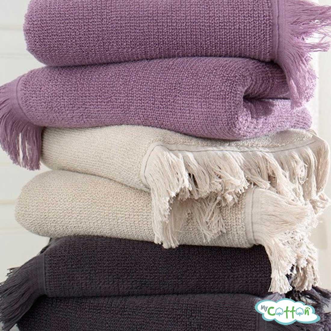 Полотенце махровое Soft Cotton фиолетовое FRINGE=