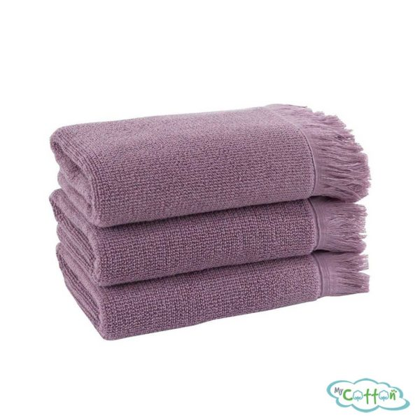Полотенце махровое Soft Cotton фиолетовое FRINGE