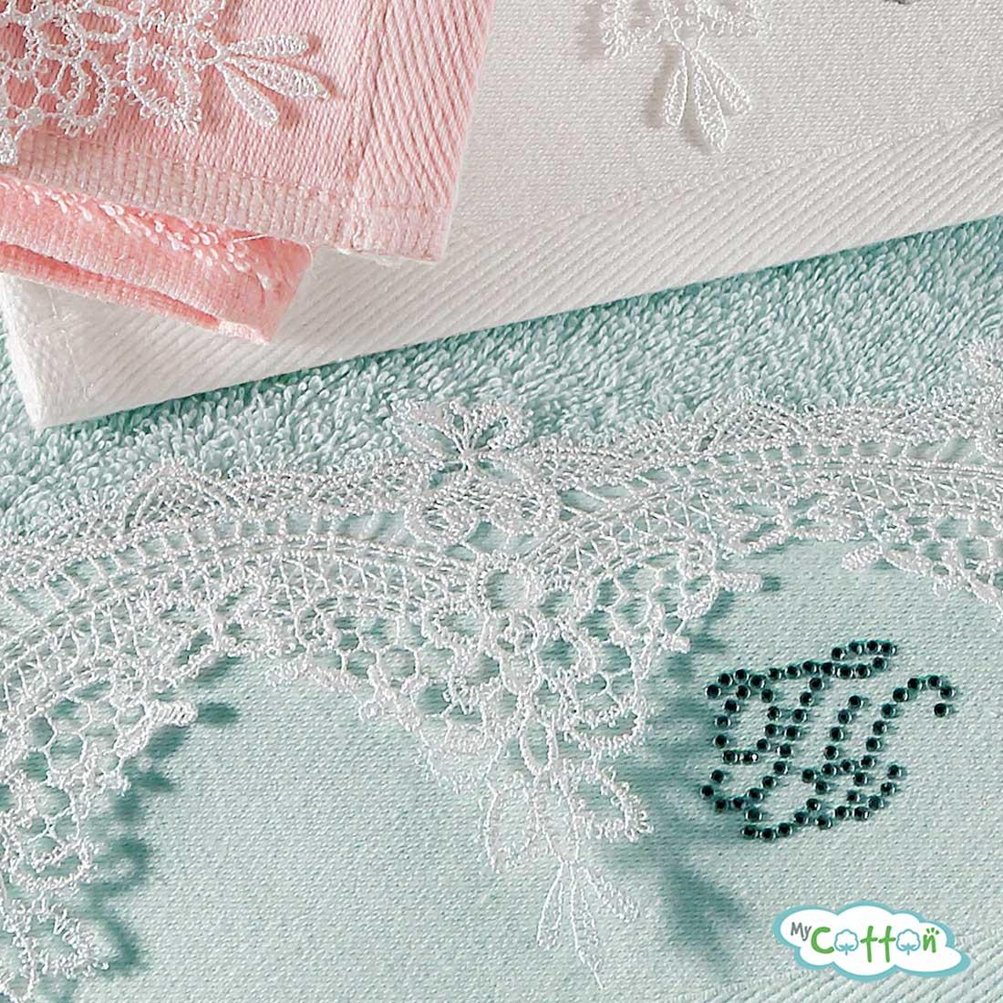 Набор из двух полотенец махровых Tivolyo Home бирюзовый JULIET>