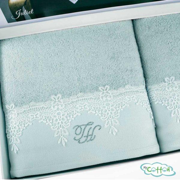 Набор из двух полотенец махровых Tivolyo Home бирюзовый JULIET