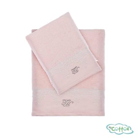 Набор из двух полотенец махровых Tivolyo Home розовый JULIET-