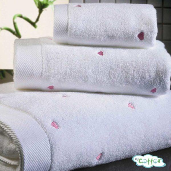 Полотенце махровое Soft Cotton белое c фиолетовыми сердечками LOVE-