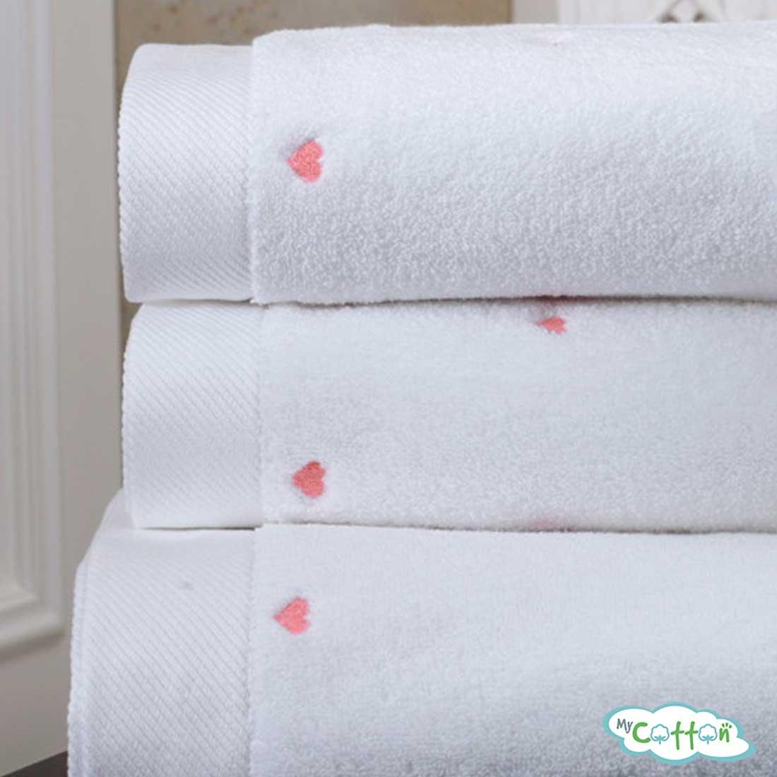 Полотенце махровое Soft Cotton белое c розовыми сердечками LOVE-