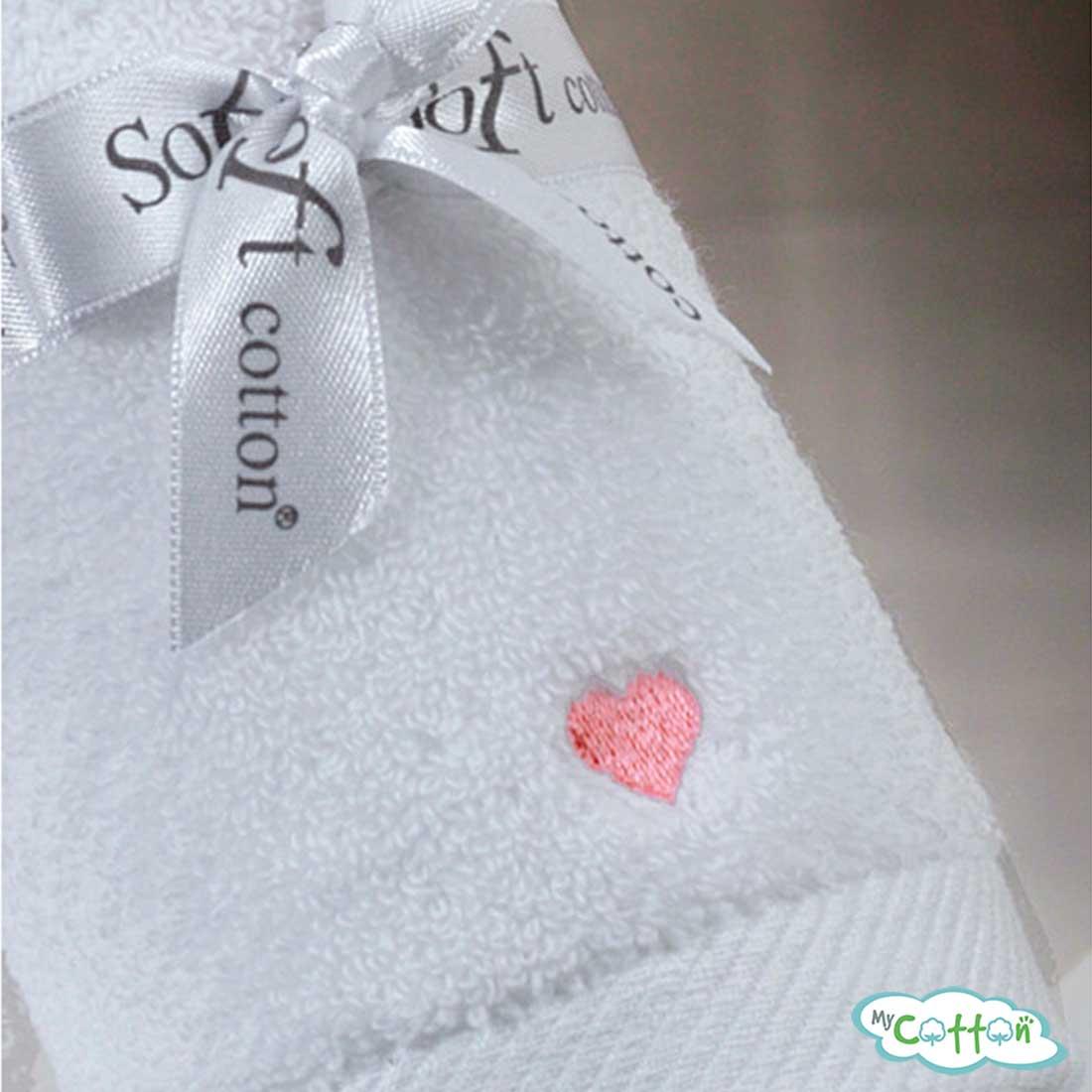 Полотенце махровое Soft Cotton белое c розовыми сердечками LOVE/