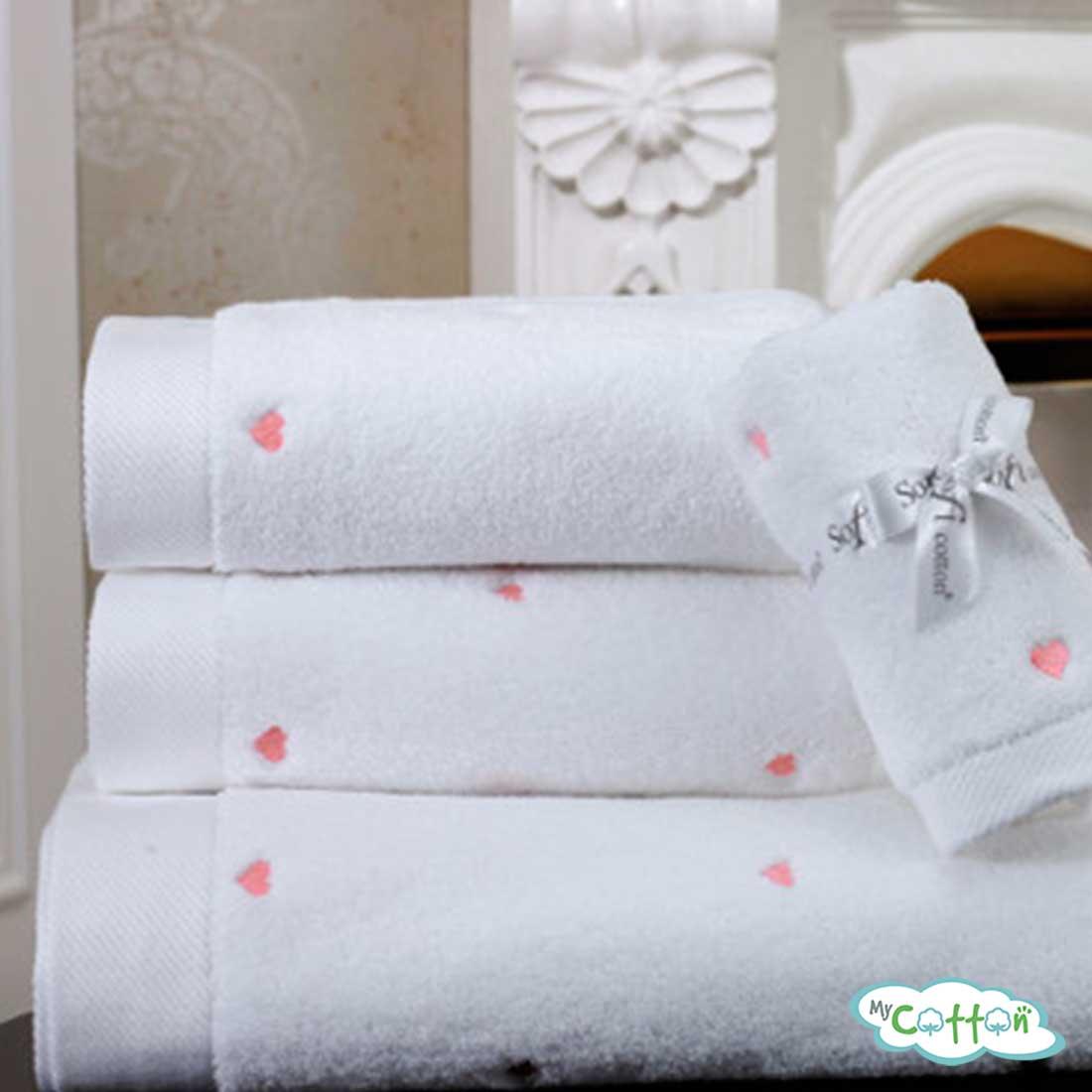 Полотенце махровое Soft Cotton белое c розовыми сердечками LOVE=