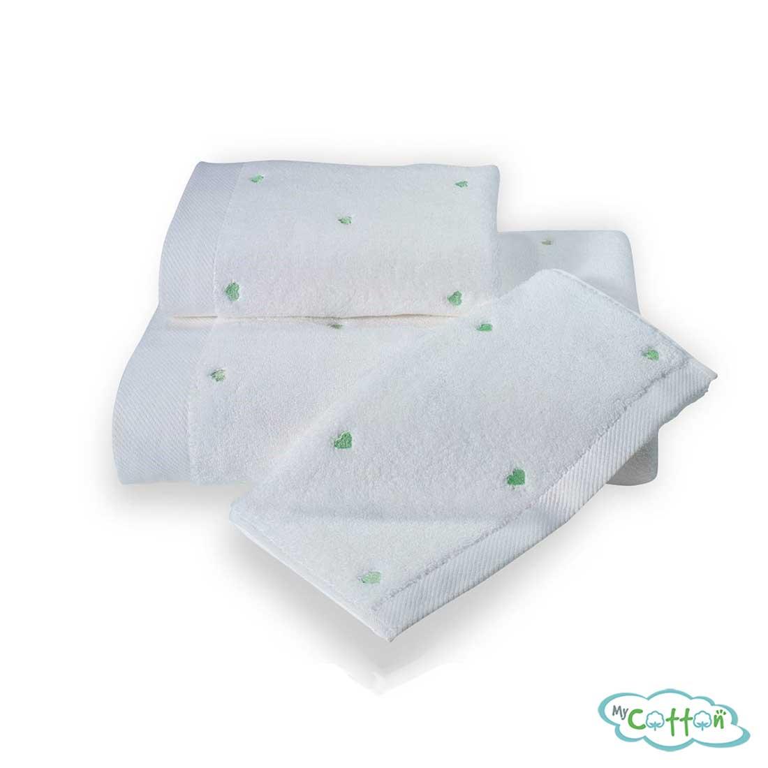 Полотенце махровое Soft Cotton белое c зелёными сердечками LOVE