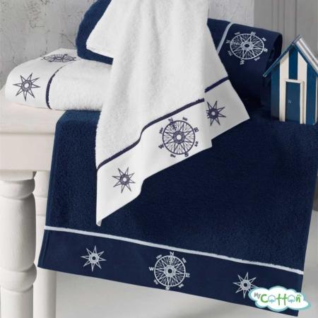 Махровое полотенце Soft Cotton темно-синее MARINE LADY