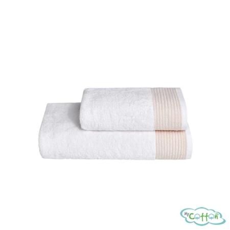 Полотенце махровое Soft Cotton бежевое MOLLIS сфирменной антибактериальной обработкой MIKROBAN