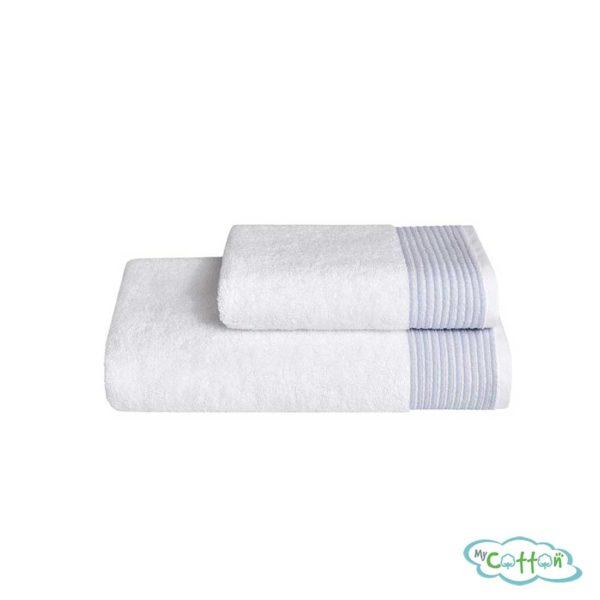 Полотенце махровое Soft Cotton голубое MOLLIS сфирменной антибактериальной обработкой MIKROBAN