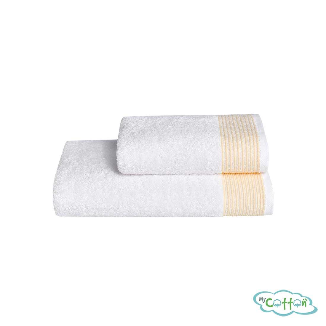 Полотенце махровое Soft Cotton жёлтое MOLLIS сфирменной антибактериальной обработкой MIKROBAN