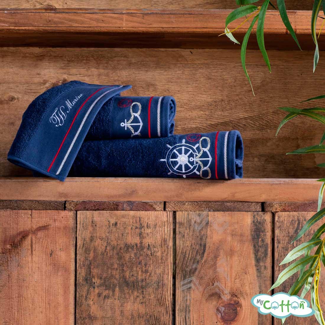 Полотенце махровое Tivolyo Home синее NAVY=