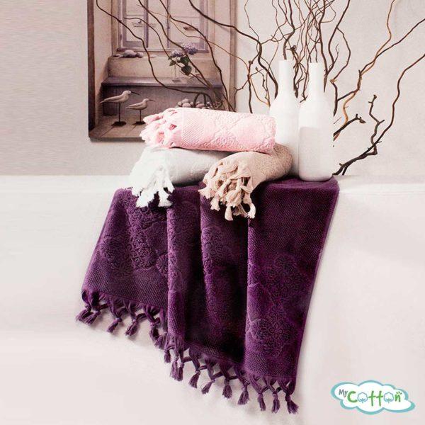 Набор махровых полотенец Tivolyo Home фиолетовый NERVURES