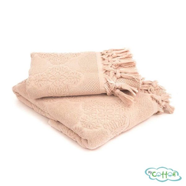 Набор махровых полотенец Tivolyo Home бежевый NERVURES