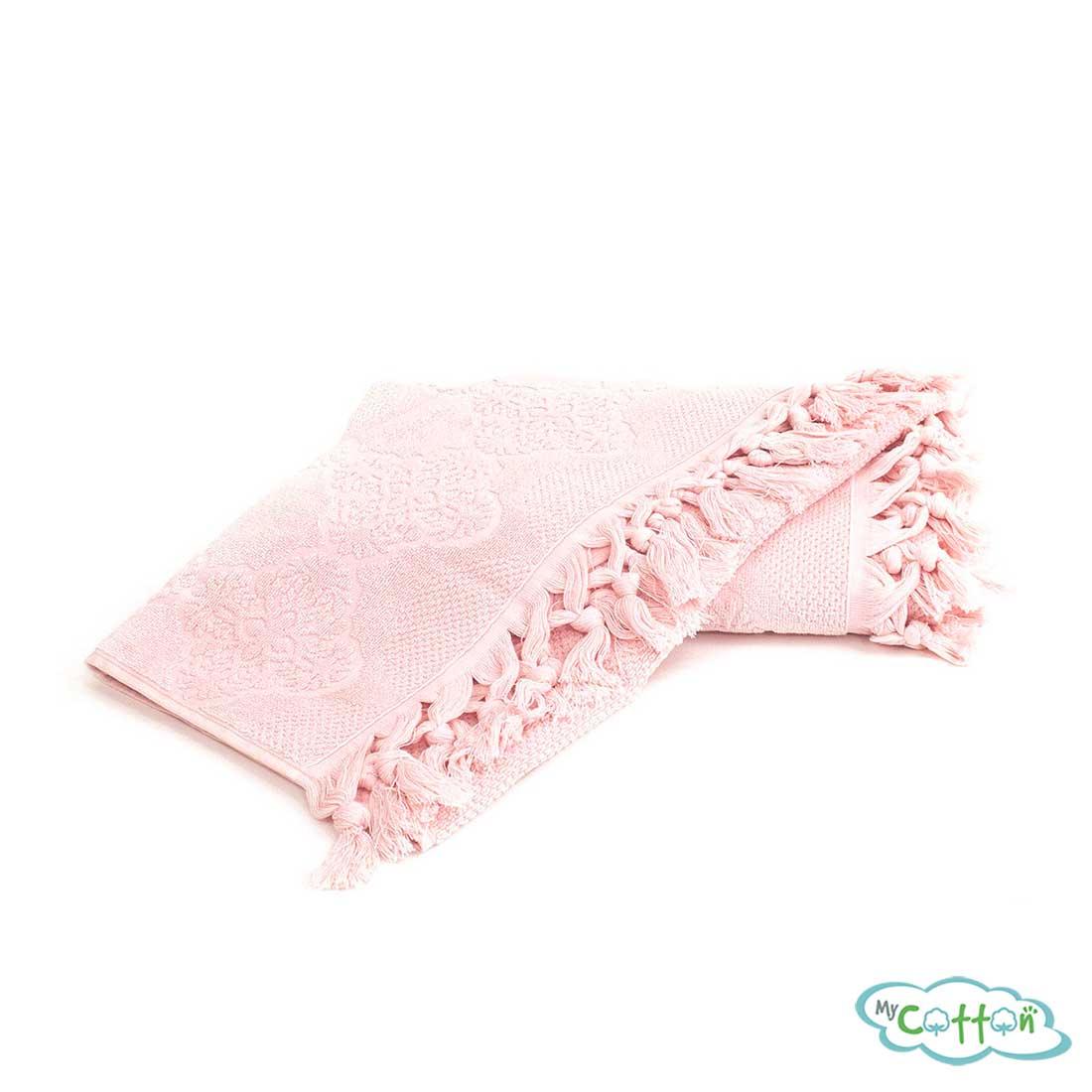 Набор махровых полотенец Tivolyo Home розовый NERVURES